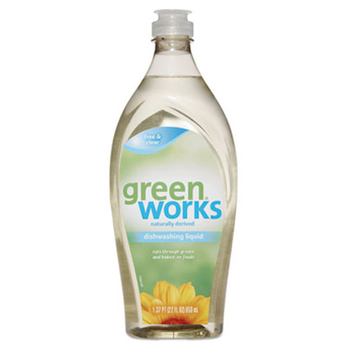 Green Works Dishwashing Liquid, Free & Clear, 22 oz Squeeze Bottle, 6/Carton (CLO31359)