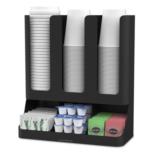 Mind Reader Flume Six-Section Upright Coffee Condiment/Cup Organizer, Black, 11.5 x 6.5 x 15 (EMSUPRIGHT6BLK)