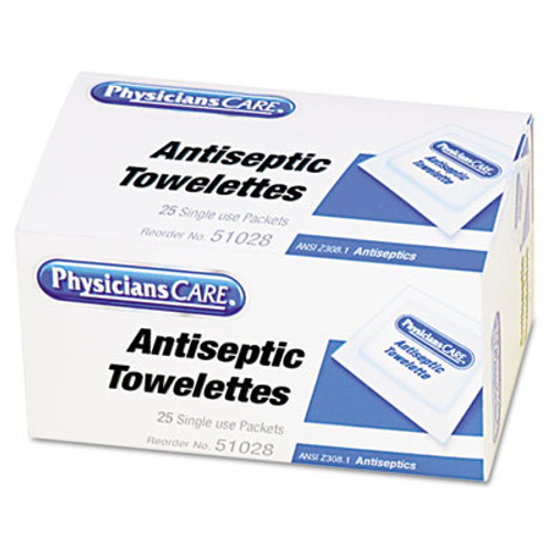 PhysiciansCare First Aid Antiseptic Towelettes, 25/Box (FAO51028)