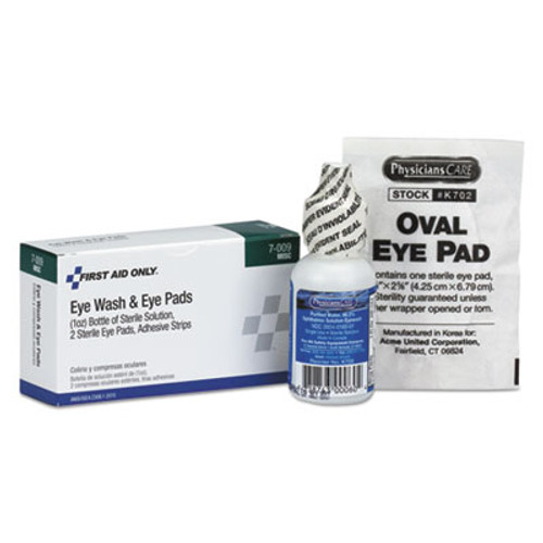 First Aid Only Eyewash Set w/Eyepads and Adhesive Strips (FAO7009)