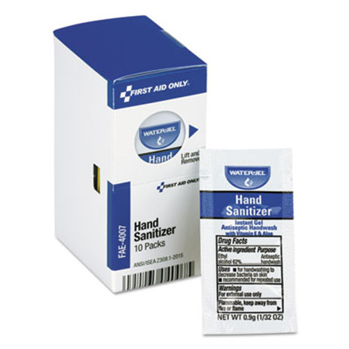 First Aid Only Hand Sanitizer Packets for SmartCompliance First Aid Kits, Clean, 0.9 g, 10/Box (FAOFAE4007)