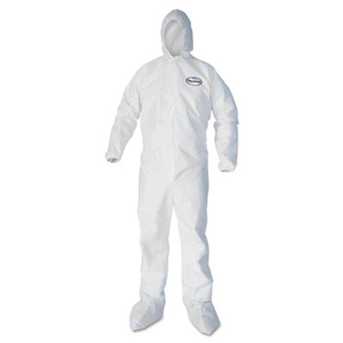 KleenGuard* A30 Elastic Back and Cuff Hooded/Boots Coveralls, White, Large, 25/Carton (KCC46123)
