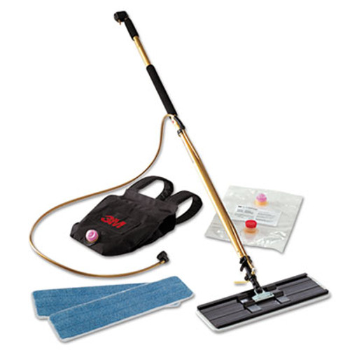 "3M Easy Shine Applicator Kit w/Backpack, 18"" Pad, 43"" - 63"" Handle, Gold/Black (MMM55433)"