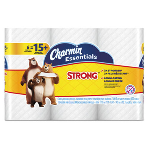 Charmin Essentials Strong Bathroom Tissue, 1-Ply, 4 x 3.92, 300/Roll, 6 Roll/Pack (PGC96892PK)