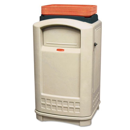 Rubbermaid Plaza Lunch Tray Top Waste Container, Rectangular, Plastic, 50 gal, Beige (RCP3963BEI)