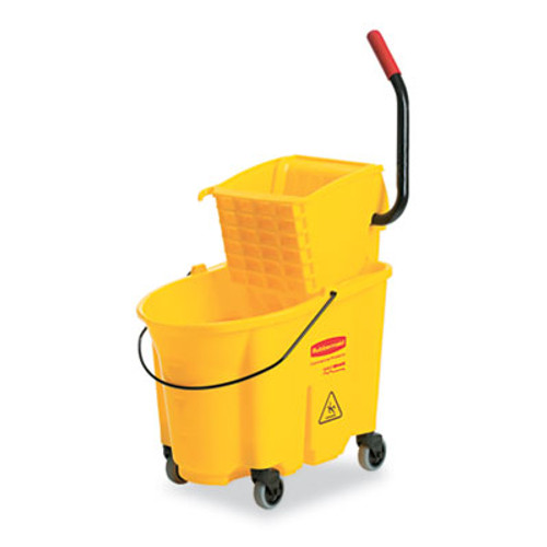 Rubbermaid Wavebrake 26 Quart Side Press Mop Bucket & Wringer Combo, Yellow (RCP748000YEL)