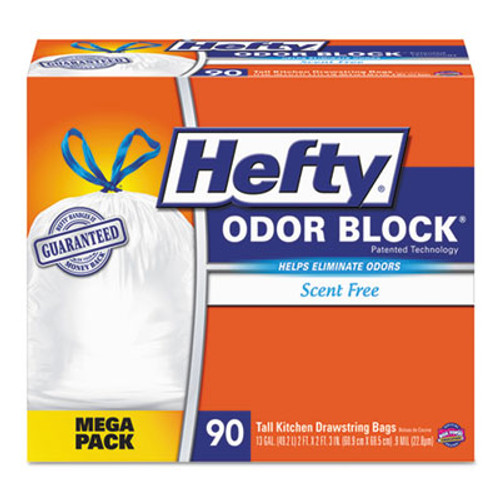 Hefty Odor Block Tall-Kitchen Drawstring Bags, 13gal, .9 mil, White, 90/Box (RFPE84574)