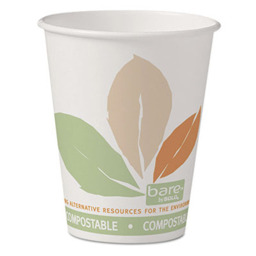 Dart Bare by Solo Eco-Forward PLA Paper Hot Cups, 8 oz, Leaf Design, 50/Pack (SCC378PLABBPK)
