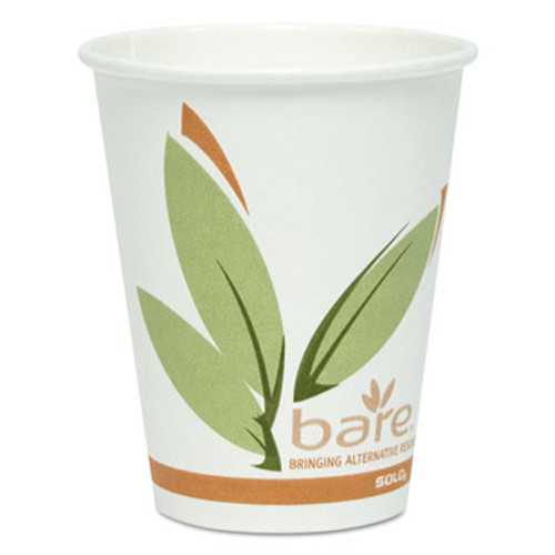 Dart Bare by Solo Eco-Forward Recycled Content PCF Paper Hot Cups, 8 oz, 400/Carton (SCCOF8RCJ8484)