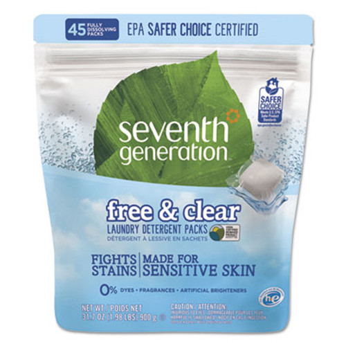 Seventh Generation Natural Laundry Detergent Packs, Unscented, 45 Packets/Pack (SEV22977)