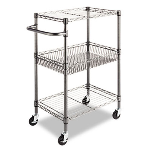 Alera Three-Tier Wire Rolling Cart, 28w x 16d x 39h, Black Anthracite (ALESW342416BA)