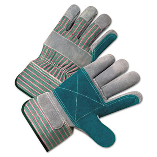 Anchor Brand 2000 Series Leather Palm Gloves, Gray/Green/Red, Large, 12 Pairs (ANR2300)