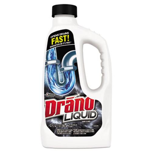 Drano Liquid Drain Cleaner, 32oz Safety Cap Bottle, 12/Carton (SJN000116)
