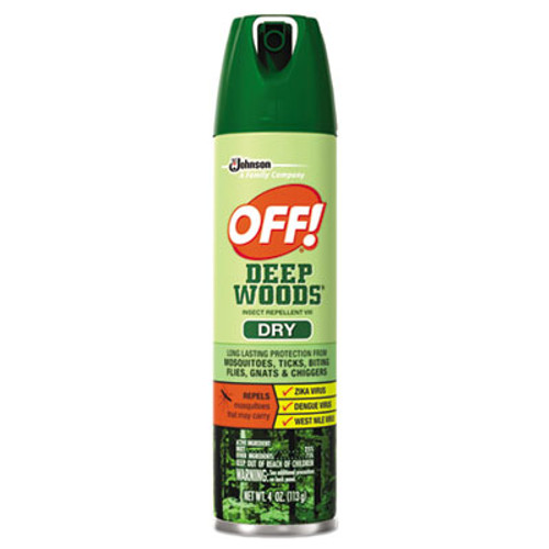 OFF! Deep Woods Dry Insect Repellent, 4oz, Aerosol, Neutral, 12/Carton (SJN616304)
