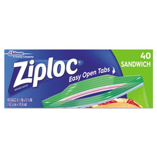 Ziploc Resealable Sandwich Bags, 6 1/2 x 5 7/8, 1.2 mil, Clear, 40/Box (SJN664542BX)