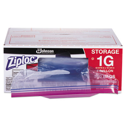 Ziploc Double Zipper Bags, Plastic, 1gal, 1.75mil, Clear w/Write-On Panel, 250/Box (SJN682257)
