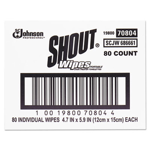 Shout Wipe & Go Instant Stain Remover, 4.7 x 5.9, 80 Packets/Carton (SJN686661)