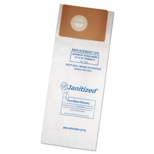 Janitized Vacuum Filter Bags Designed to Fit Advance VU500/Triple S Triumph 10/PK, 10PK/CT (APCADVU500210)
