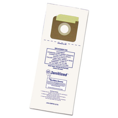 Janitized Vacuum Filter Bags Designed to Fit Carpet Pro/CleanMax/Fuller/Tennant, 100/CT (APCJANCMPRO2)