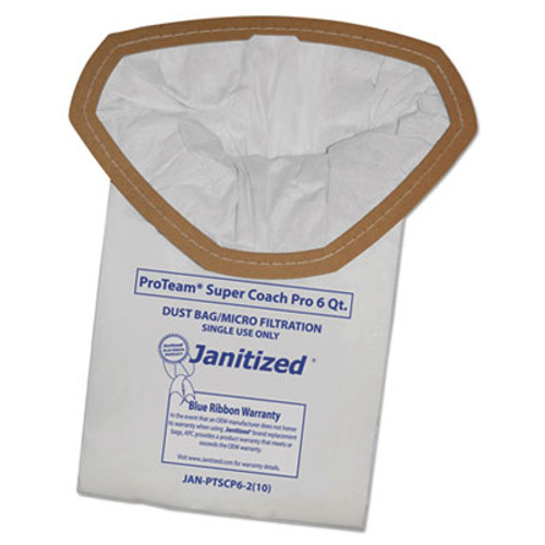 Janitized Vacuum Filter Bags Designed to Fit ProTeam Super Coach Pro 6/GoFree Pro, 10/PK (APCJANPTSCP62)