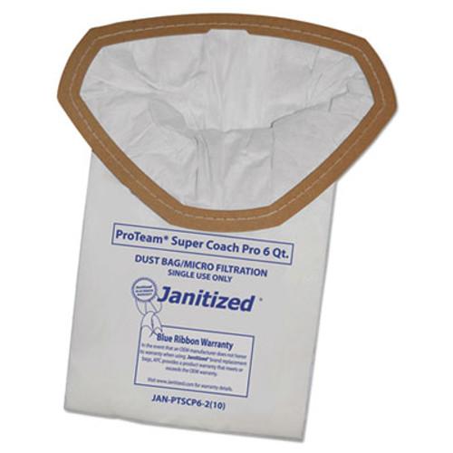 Janitized Vacuum Filter Bags Designed to Fit ProTeam Super Coach Pro 6/GoFree Pro, 10/PK (APCJANPTSCP62)