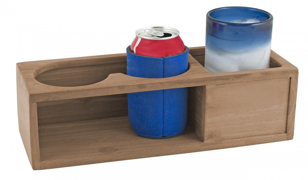 Teak Drink Rack; Two Insulated