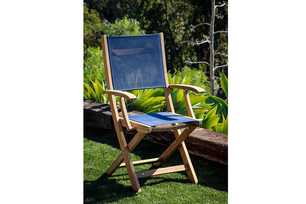 Folding Teak Deck Armchair with Blue Fabric
