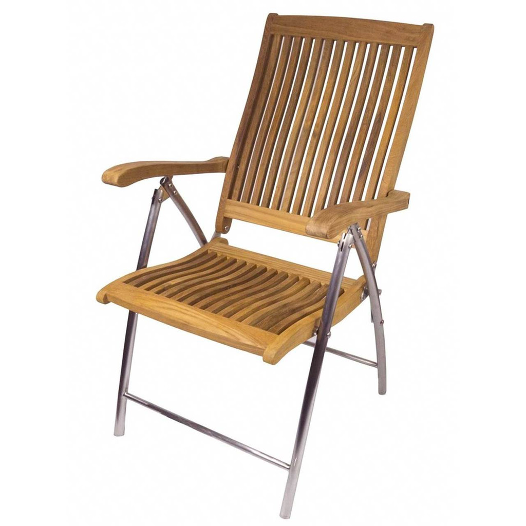 Windrift Folding 6-Position Teak Deck Armchair with Stainless Steel legs