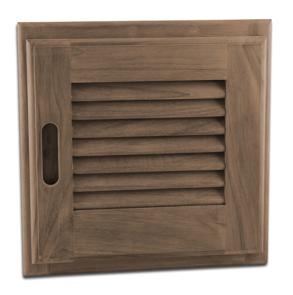 """Teak Louvered Door + Frame, 12"""" x 12"""" (Right-hand opening)"""