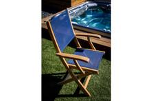Teak Bimini Folding Deck Armchair With Blue Textilene Fabric