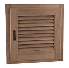 """Teak Louvered Door + Frame, Square 15"""" x 15"""" (Right-hand opening)"""