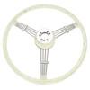 "Empi 79-4060 Banjo Style Grey Vintage 3 Spoke Steering Wheel, 15-1/2"" Diameter"