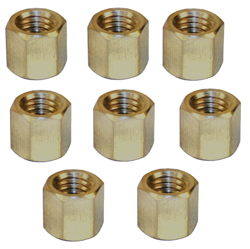 Empi 43-6051 Vw Bug, Ghia Brass Exhaust Nut, 8mm-1.25mm, 11mm Hex Head, Set Of 8