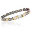 Novoa Women 's Quad-Element Titanium Two-Tone Silver and Gold Magnetic Bracelet with Satin Accents