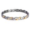 Novoa Women 's Quad-Element Titanium Two-Tone Silver and Gold Magnetic Bracelet with Satin Accents - 12,800 Gauss B428J