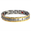 Novoa Men's Quad-Element Satin Titanium Magnetic Bracelet With Gold Accents - 12,800 Gauss B430J