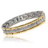 Satin Titanium Magnetic Bracelet With Gold Accents