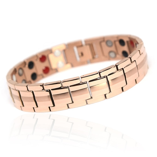 magnetic-bracelet-jewelry   Novoa Men's Rose Gold Colored  B246QM