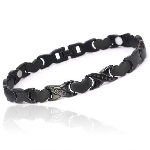Novoa Women 's Quad-Element Titanium Two-Tone Gloss Black Magnetic Bracelet with Satin Accents