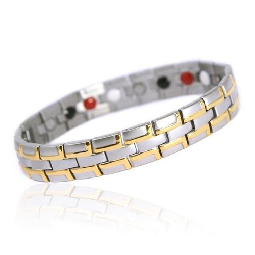 Novoa Men's Quad-Element Satin Stainless Steel Magnetic Bracelet With Gold Accents - 12,800 Gauss B072J