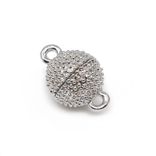 Silver Plated Beaded Texture Neodymium Magnetic Bracelet Clasp