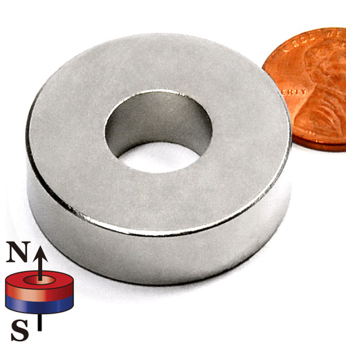 "LIQUIDATION - N42 1-1/4""OD x 1/2""ID x 3/8"" Neodymium Rare Earth Ring Magnet"