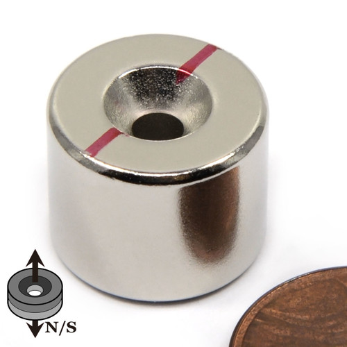 """5/8""""x1/2"""" Neodymium Disc Magnet w/6 Countersunk Hole on Both Sides"""