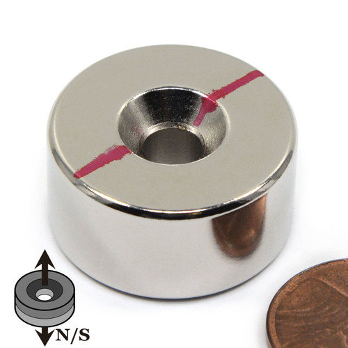 "1x1/2"" Neodymium Disc Magnet w/#12 Countersunk Hole on Both Sides"