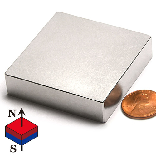 "N52 2X2X1/2"" NdFeB Rare Earth Rectangular Magnets"