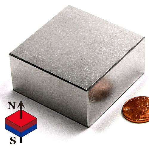 "N50 2x2x1"" NdFeB Rare Earth Rectangular Magnet"