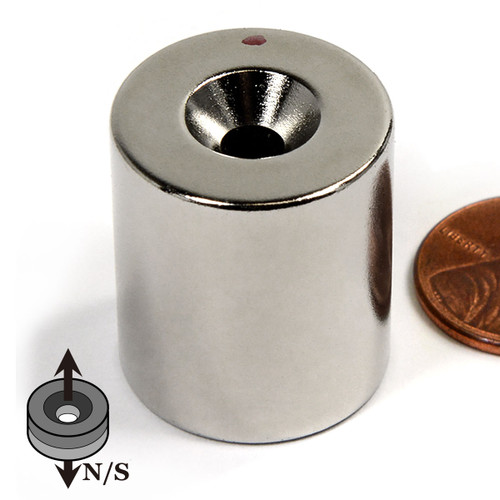 "N42 7/8""x1"" Neodymium Rare Earth Cylindrical Magnet with #10 Countersink"