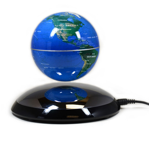 Magnetic Levitation Silver Base Blue Globe