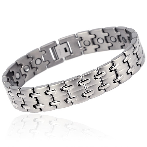 magnetic bracelet Novoa Men 's Titanium Two-Tone Satin Magnetic Bracelet with Polished Accents