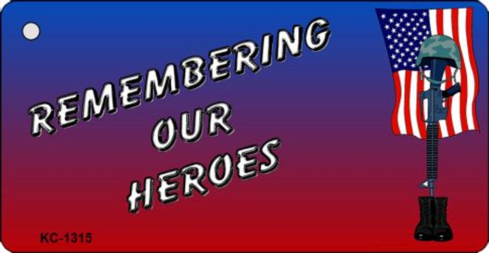 Remembering Our Heroes Mini License Plate Metal Novelty Key Chain